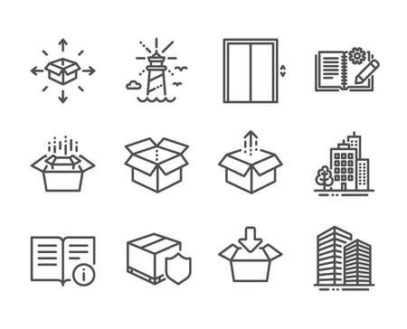 Set of Industrial icons, such as Lift, Lighthouse, Buildings, Delivery insurance, Skyscraper buildings, Open box, Parcel delivery, Technical info, Packing boxes, Send box line icons. Lift icon. Vector