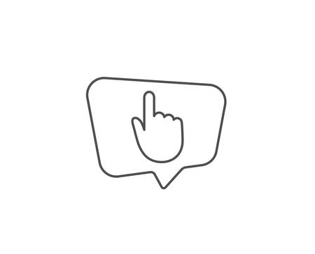 Hand Click line icon. Chat bubble design. Finger touch sign. Cursor pointer symbol. Outline concept. Thin line hand click icon. Vector Иллюстрация