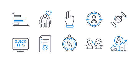 Set of Business icons, such as Friendship, Travel compass, Horizontal chart, People communication, Reject file, Headhunting, Web tutorials, Chemistry dna, Click hand, Career ladder. Vector Reklamní fotografie - 133839651