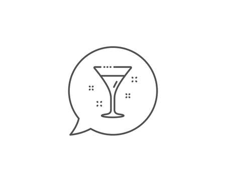 Cocktail glass line icon. Chat bubble design. Martini drink sign. Hotel service symbol. Outline concept. Thin line cocktail icon. Vector Illustration