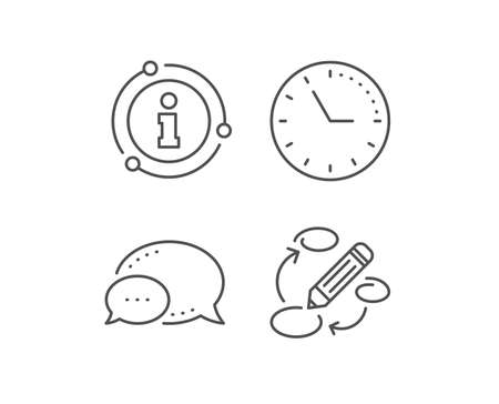 Keywords line icon. Chat bubble, info sign elements. Pencil symbol. Marketing strategy sign. Linear keywords outline icon. Information bubble. Vector 向量圖像