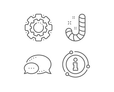 Christmas candy line icon. Chat bubble, info sign elements. Cane lollypop sign. Linear candy outline icon. Information bubble. Vector