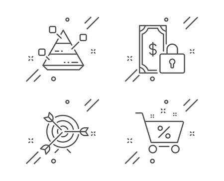Private payment, Target and Pyramid chart line icons set. Loan percent sign. Secure finance, Targeting, Report analysis. Shopping cart. Finance set. Line private payment outline icon. Vector