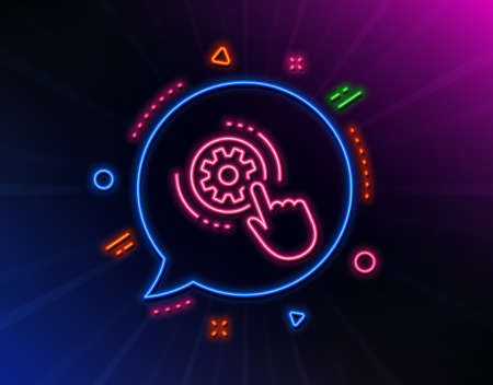 Cogwheel settings line icon. Neon laser lights. Engineering tool sign. Cog gear symbol. Glow laser speech bubble. Neon lights chat bubble. Banner badge with cogwheel settings icon. Vector Фото со стока - 133839819