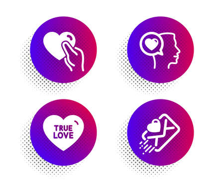 True love, Romantic talk and Hold heart icons simple set. Halftone dots button. Love letter sign. Sweet heart, Friendship. Love set. Classic flat true love icon. Vector