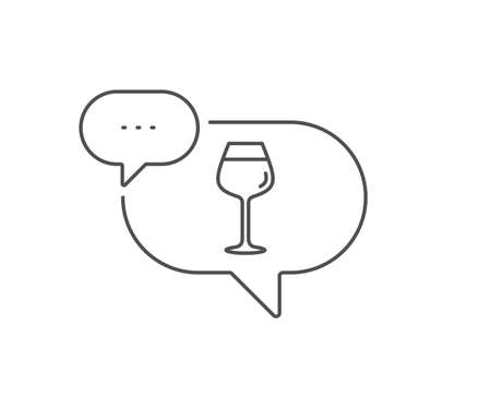 Wine glass line icon. Chat bubble design. Bordeaux glass sign. Outline concept. Thin line bordeaux glass icon. Vector