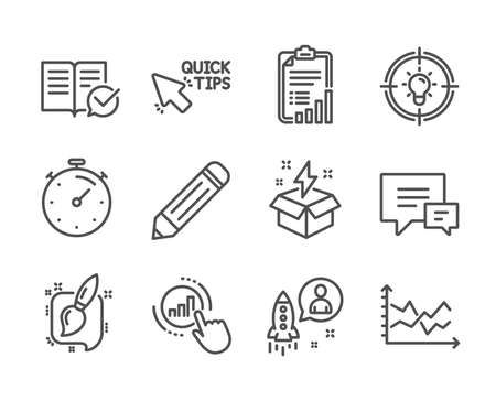 Set of Education icons, such as Painting brush, Approved documentation, Timer, Comment, Idea, Startup, Diagram chart, Quick tips, Creative idea, Graph chart, Checklist, Pencil line icons. Vector