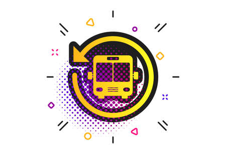 Bus shuttle icon. Halftone dots pattern. Public transport stop symbol. Classic flat bus shuttle icon. Vector
