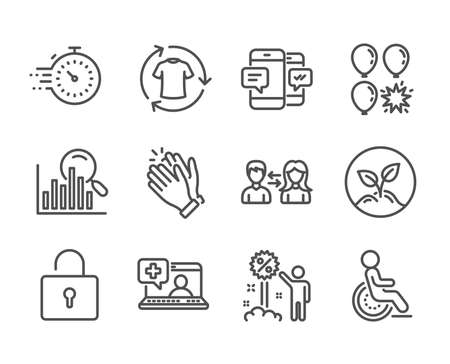 Set of Business icons, such as Disability, Medical help, Clapping hands, Startup, Timer, Search, Change clothes, Balloon dart, People communication, Smartphone sms, Lock, Discount. Vector Illustration