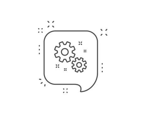 Work line icon. Chat bubble design. Business management sign. Cogwheel or gear symbol. Outline concept. Thin line work icon. Vector Фото со стока - 133840644