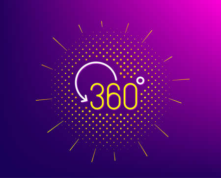 360 degree line icon. Halftone pattern. Full rotation sign. VR technology simulation symbol. Gradient background. Full rotation line icon. Yellow halftone pattern. Vector