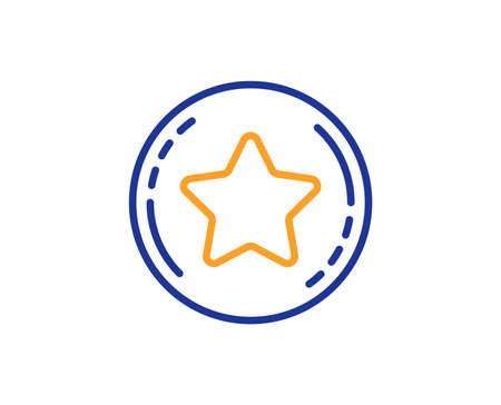 Bonus points. Loyalty star line icon. Discount program symbol. Colorful outline concept. Blue and orange thin line loyalty star icon. Vector