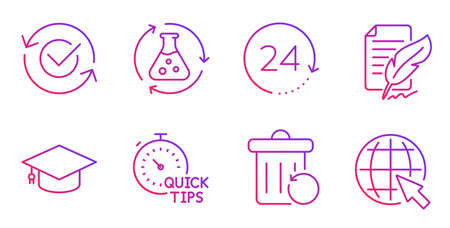 Recovery trash, Approved and Quick tips line icons set. 24 hours, Graduation cap and Feather signature signs. Chemistry experiment, Internet symbols. Backup file, Refresh symbol. Vector