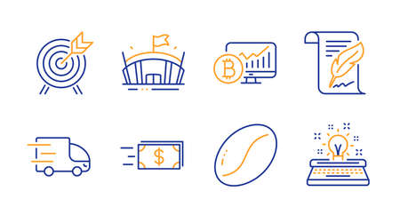 Bitcoin chart, Arena and Archery line icons set. Money transfer, Feather and Coffee beans signs. Truck delivery, Typewriter symbols. Cryptocurrency statistics, Sport stadium. Business set. Vector Illusztráció