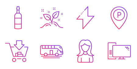 Shopping, Parking and Bus tour line icons set. Energy, Startup concept and Brandy bottle signs. Woman, Computer symbols. Add to cart, Park pointer. Gradient shopping icon. Vector 일러스트