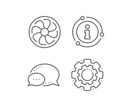 Fan engine line icon. Chat bubble, info sign elements. Jet turbine sign. Ventilator symbol. Linear fan engine outline icon. Information bubble. Vector
