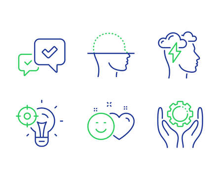 Approve, Seo idea and Mindfulness stress line icons set. Smile, Face scanning and Employee hand signs. Accepted message, Performance, Cloud storm. Social media like. Technology set. Vector Фото со стока - 133841075