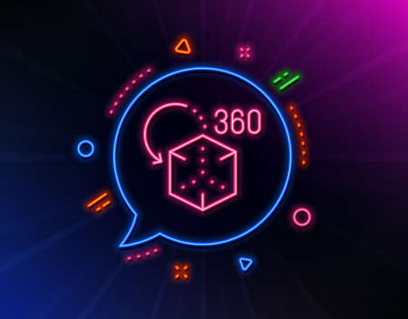Augmented reality line icon. Neon laser lights. VR simulation sign. 3d cube symbol. Glow laser speech bubble. Neon lights chat bubble. Banner badge with augmented reality icon. Vector