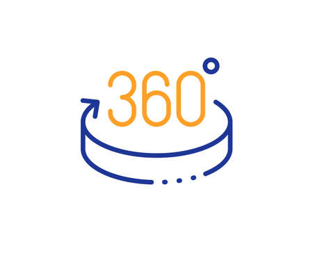 VR simulation sign. 360 degrees line icon. Panoramic view symbol. Colorful outline concept. Blue and orange thin line 360 degrees icon. Vector