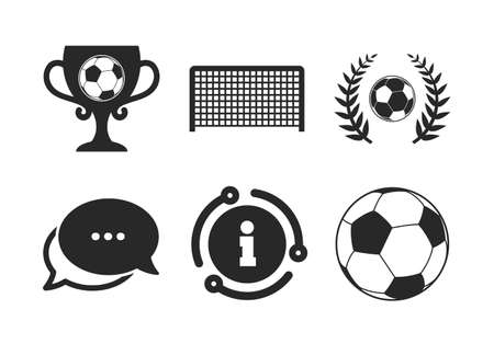 Soccer ball sport sign. Chat, info sign. Football icons. Goalkeeper gate symbol. Winner award cup and laurel wreath. Classic style speech bubble icon. Vector