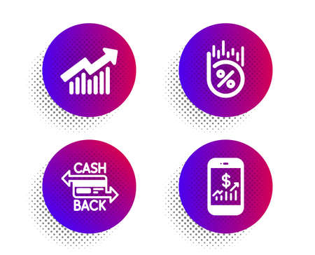 Cashback card, Loan percent and Demand curve icons simple set. Halftone dots button. Mobile finance sign. Money payment, Discount, Statistical report. Phone accounting. Finance set. Vector Ilustrace