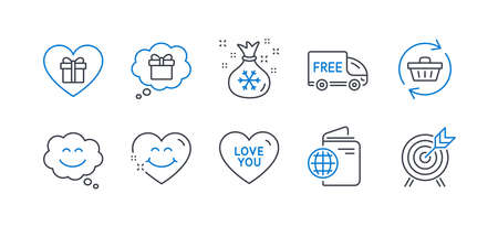 Set of Holidays icons, such as Refresh cart, Smile chat, Romantic gift, Free delivery, Santa sack, Travel passport, Love you, Smile face, Gift dream, Archery line icons. Line refresh cart icon. Vector Illusztráció