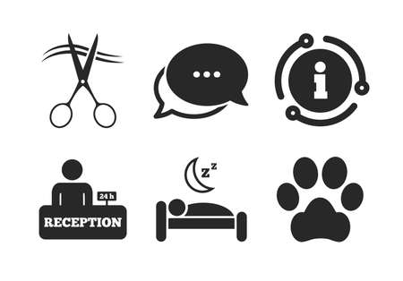 With pets allowed in room signs. Chat, info sign. Hotel services icons. Hairdresser or barbershop symbol. Reception registration table. Quiet sleep. Classic style speech bubble icon. Vector Stok Fotoğraf - 133841471