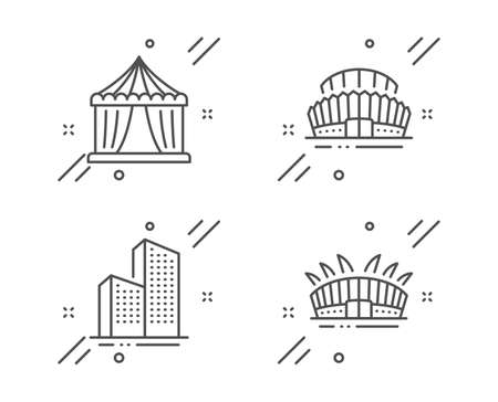 Skyscraper buildings, Sports stadium and Circus tent line icons set. Arena stadium sign. Town architecture, Championship arena, Attraction park. Sport complex. Buildings set. Vector
