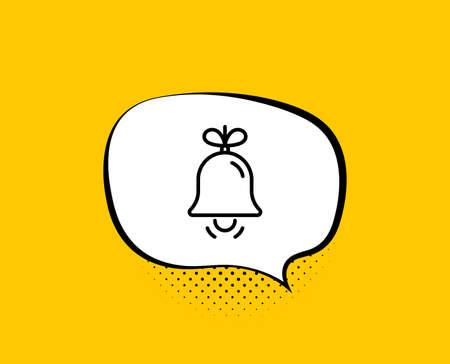 Christmas bell line icon. Comic speech bubble. New year tree decoration sign. Yellow background with chat bubble. Bell icon. Colorful banner. Vector 矢量图像