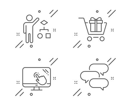 Algorithm, Touch screen and Shopping cart line icons set. Talk bubble sign. Developers job, Web support, Gift box. Chat message. Technology set. Line algorithm outline icon. Vector