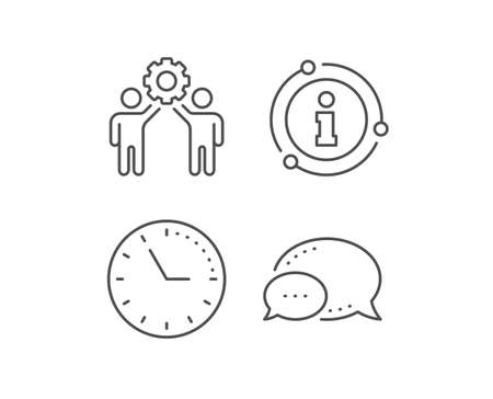 Employees teamwork line icon. Chat bubble, info sign elements. Collaboration sign. Development partners symbol. Linear employees teamwork outline icon. Information bubble. Vector Фото со стока - 133841525