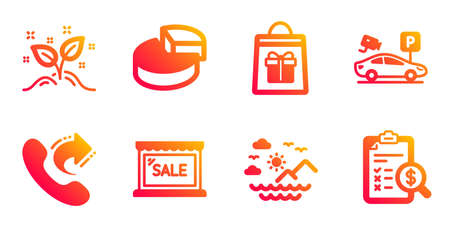 Share call, Parking security and Sea mountains line icons set. Sale, Startup concept and Holidays shopping signs. Pie chart, Accounting report symbols. Phone support, Video camera. Vector Illustration