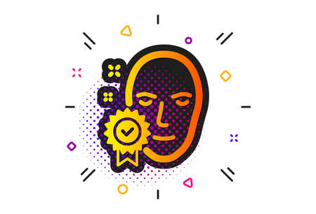 Access granted sign. Halftone circles pattern. Face verified icon. Facial identification success symbol. Classic flat face verified icon. Vector
