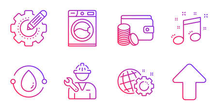 Cold-pressed oil, Settings gear and Payment method line icons set. Seo gear, Musical note and Repairman signs. Washing machine, Upload symbols. Organic tested, Technology process. Vector