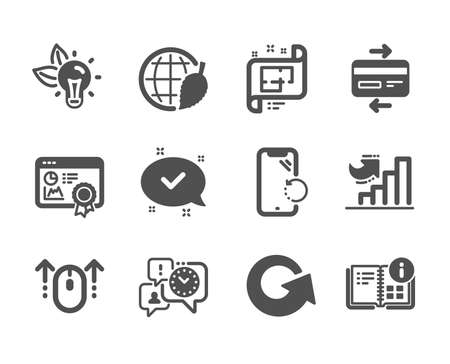 Set of Technology icons, such as Swipe up, Smartphone recovery, Approved, Eco energy, Seo certificate, Instruction info, Architectural plan, Credit card, Environment day, Time management. Vector
