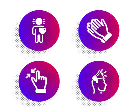 Clapping hands, Friend and Touchscreen gesture icons simple set. Halftone dots button. Brand ambassador sign. Clap, Love, Zoom out. Megaphone. People set. Classic flat clapping hands icon. Vector