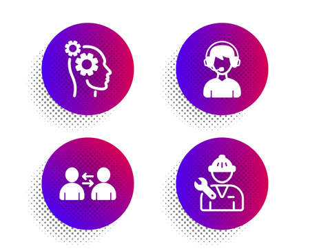 Communication, Consultant and Thoughts icons simple set. Halftone dots button. Repairman sign. Users talking, Call center, Business work. Repair service. People set. Vector Фото со стока - 133841825