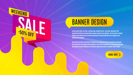 Weekend sale 50% off badge. Discount banner shape. Hot offer icon. Abstract background design. Banner with offer badge. Vector