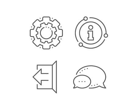Logout arrow line icon. Chat bubble, info sign elements. Sign out symbol. Navigation pointer. Linear sign out outline icon. Information bubble. Vector Ilustrace