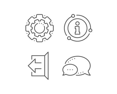 Logout arrow line icon. Chat bubble, info sign elements. Sign out symbol. Navigation pointer. Linear sign out outline icon. Information bubble. Vector Illustration