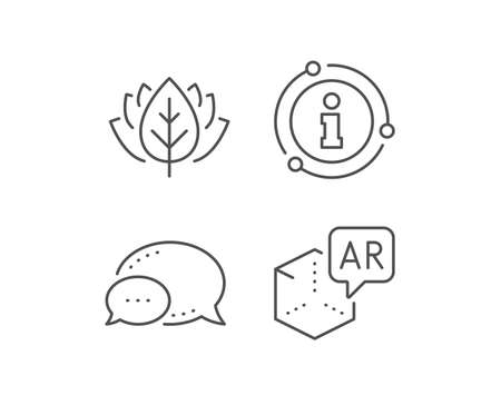 Augmented reality line icon. Chat bubble, info sign elements. VR simulation sign. 3d cube symbol. Linear augmented reality outline icon. Information bubble. Vector