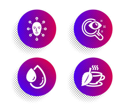 Oil drop, Vision test and Face biometrics icons simple set. Halftone dots button. Mint tea sign. Serum, Eyesight check, Facial recognition. Mentha beverage. Medical set. Vector Ilustracja