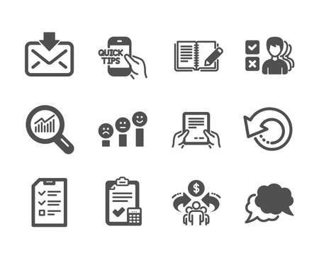 Set of Education icons, such as Sharing economy, Recovery data, Data analysis, Chat message, Education, Incoming mail, Accounting checklist, Feedback, Opinion, Customer satisfaction. Vector