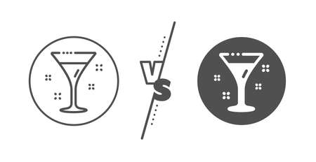 Martini drink sign. Versus concept. Cocktail glass line icon. Hotel service symbol. Line vs classic cocktail icon. Vector