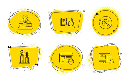 Reject refresh, Search book and Online payment signs. Chat bubbles. Typewriter, Web timer and Ab testing line icons set. Inspiration, Online test, Test chart. Update rejection. Technology set. Vector Ilustracja