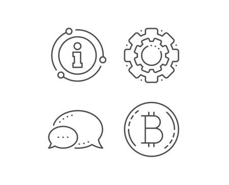 Bitcoin line icon. Chat bubble, info sign elements. Cryptocurrency coin sign. Crypto money symbol. Linear bitcoin outline icon. Information bubble. Vector