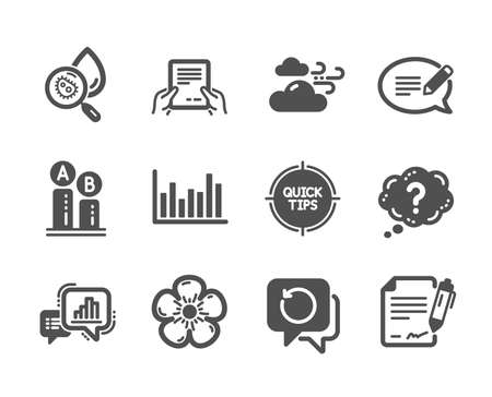 Set of Science icons, such as Receive file, Signing document, Message, Tips, Windy weather, Graph chart, Question mark, Water analysis, Bar diagram, Ab testing, Natural linen. Vector Archivio Fotografico - 133842125
