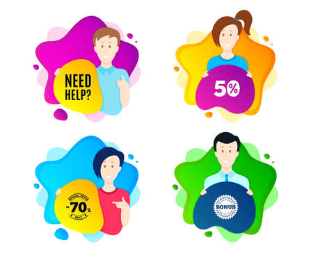 Need help symbol. People shape offer badge. Support service sign. Faq information. Dynamic shape offer. Worker person badge. Cut out people coupon. Need help text. Vector