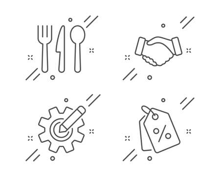 Food, Handshake and Cogwheel line icons set. Discount tags sign. Cutlery, Deal hand, Edit settings. Sale coupons. Business set. Line food outline icon. Vector