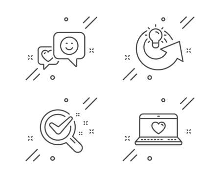 Chemistry lab, Share idea and Smile line icons set. Web love sign. Lab research, Solution, Socila media. Social network. Technology set. Line chemistry lab outline icon. Vector